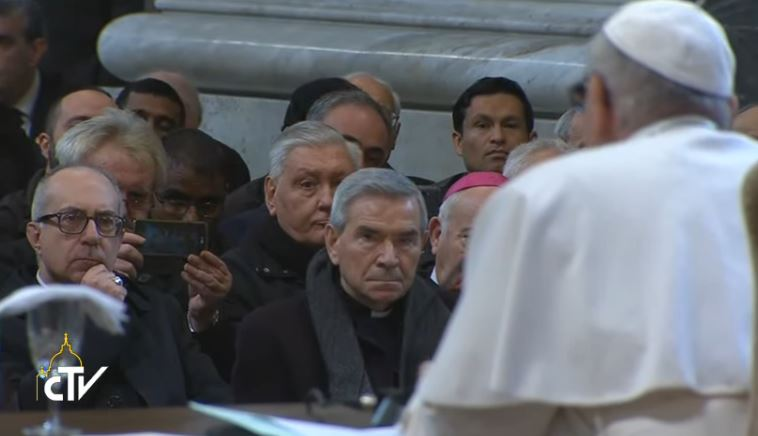 Méditation devant le clergé de Rome, St Jean du Latran, capture CTV