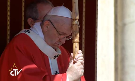 Messe des Rameaux au Vatican, capture CTV