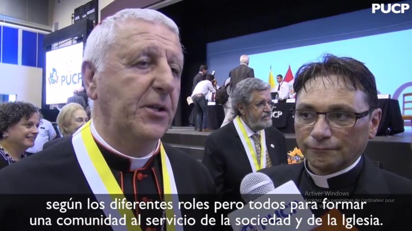 Le card. Versaldi à la célébration des 100 ans de l'université péruvienne, capture