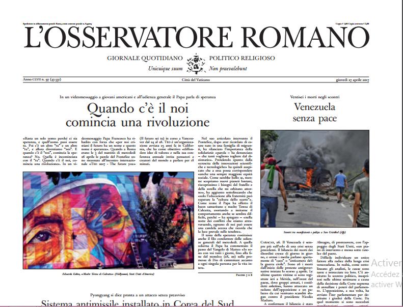 L'Osservatore Romano du 27 avril 2017
