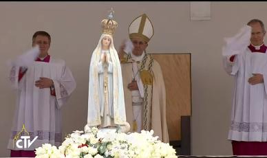 Messe du centenaire des apparitions de Fatima, capture CTV