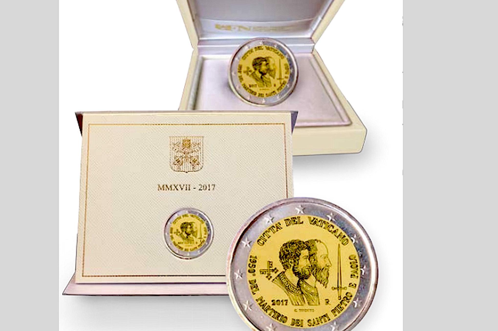2 euros du Vatican à l'effigie de Pierre et Paul © L'Osservatore Romano