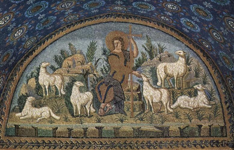 Mosaïque du Bon Pasteur à Ravenne © Wikimedia Commons / Meister des Mausoleums der Galla Placidia in Ravenna