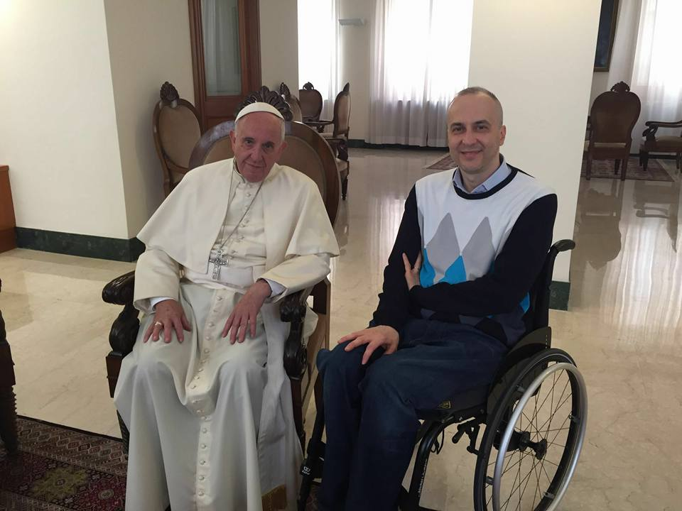Michele Ferri rend visite au pape François au Vatican, mai 2016, Facebook