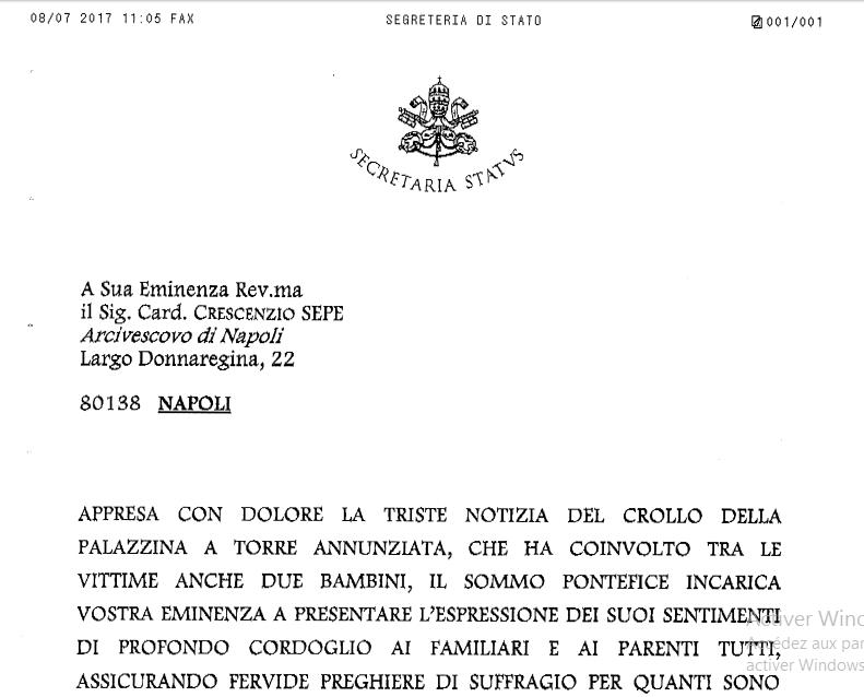 Tragédie de Torre Annunziata, télégramme du pape François, capture ZENIT