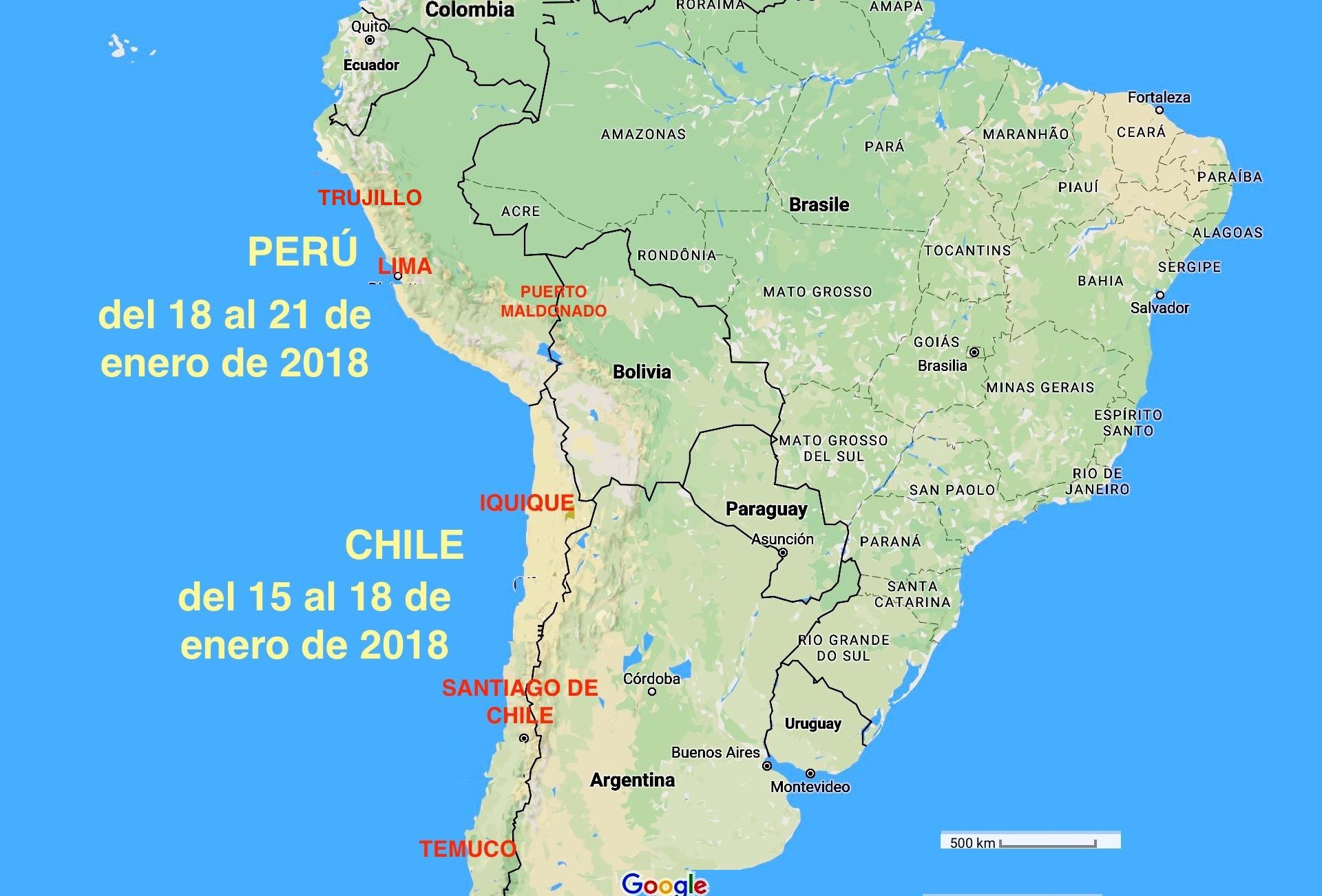 Carte du voyage au Chili et au Pérou