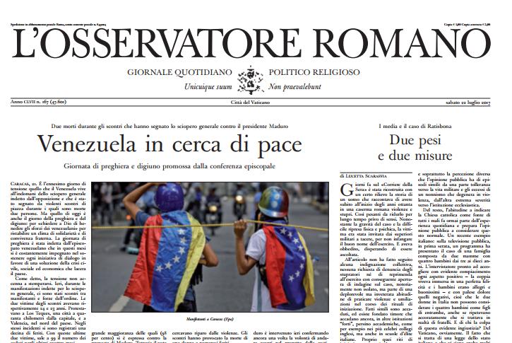 Couverture de L'Osservatore Romano du 22 juillet 2017