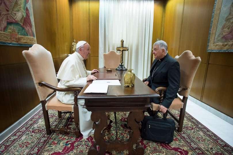 Le pape reçoit Mgr Tscherrig, 24 août 2017 © L'Osservatore Romano