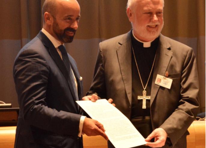 Signature du Traité d'interdiction nuéclaire, Mgr P. R. Gallagher, New-York, Sept. 20 2017 @ Holy See Mission