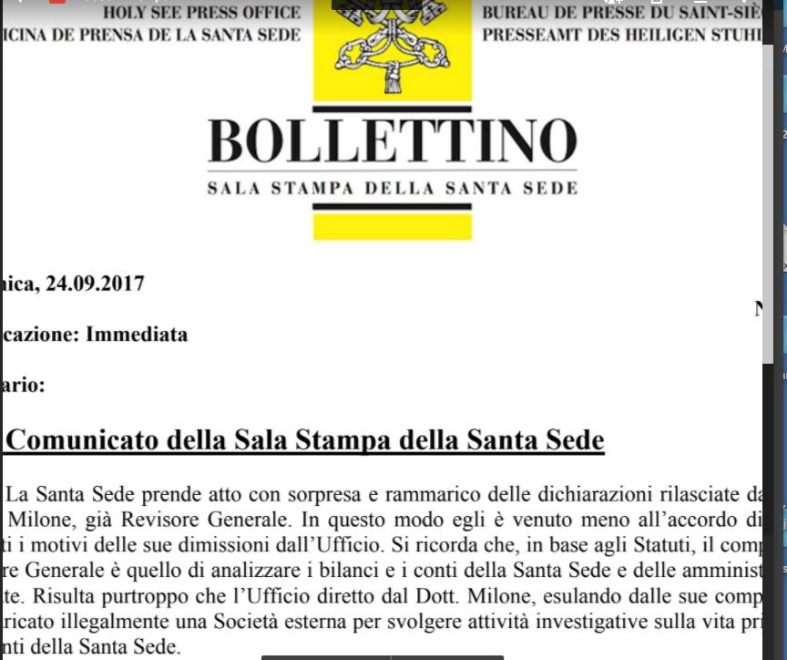 Communiqué du Saint-Siège sur la démission de M. Libero Milone, 24/09/2017