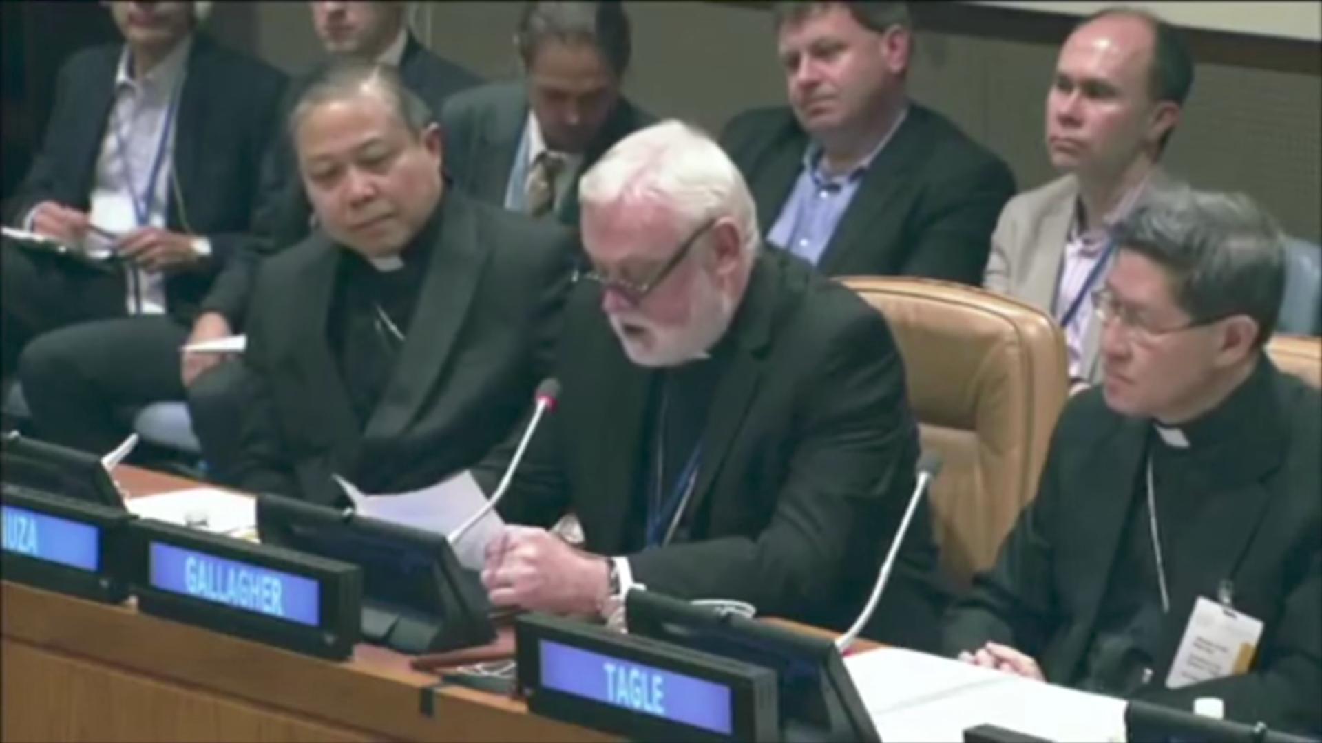 Mgr Paul Richard Gallagher, capture streaming de l'ONU