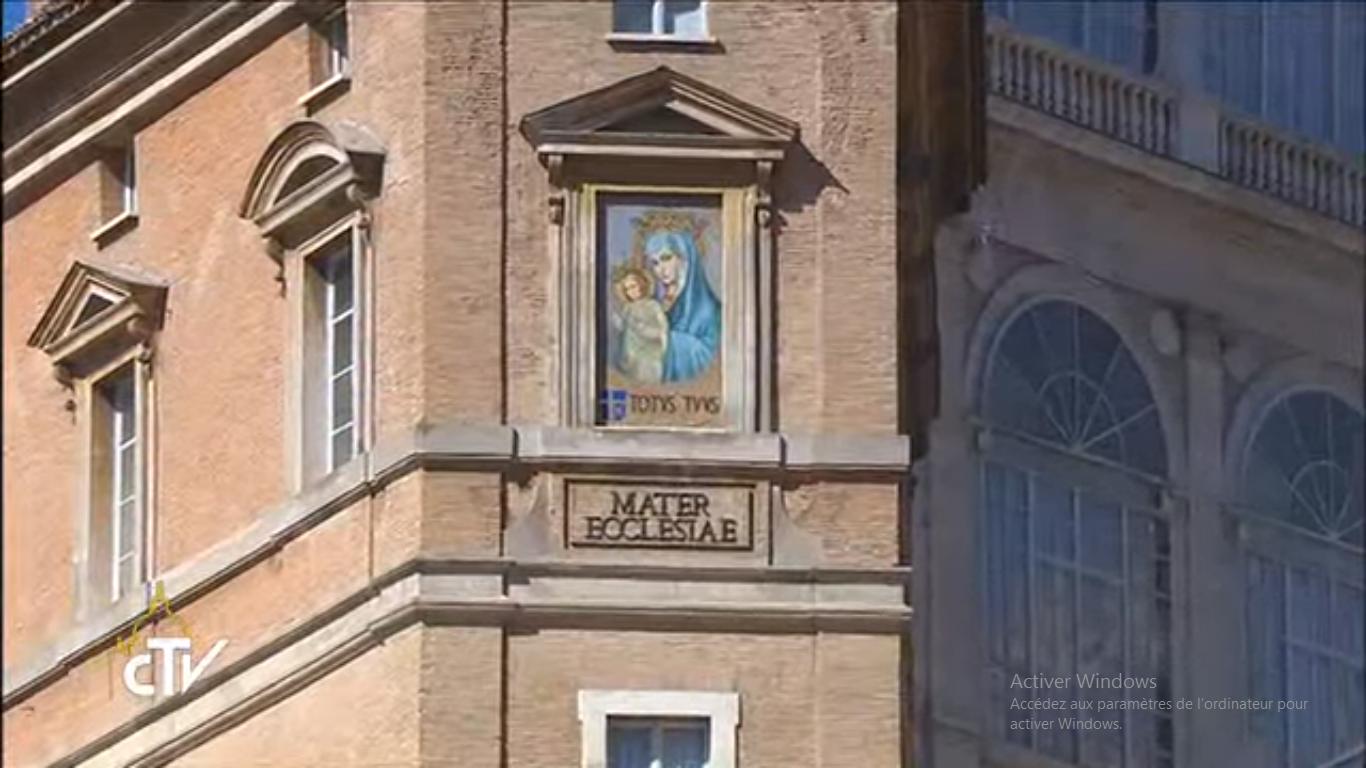 Marie, Mère de l'Eglise, mosaïque, ex-voto après l'attentat contre Jean-Paul II (1981), capture CTV