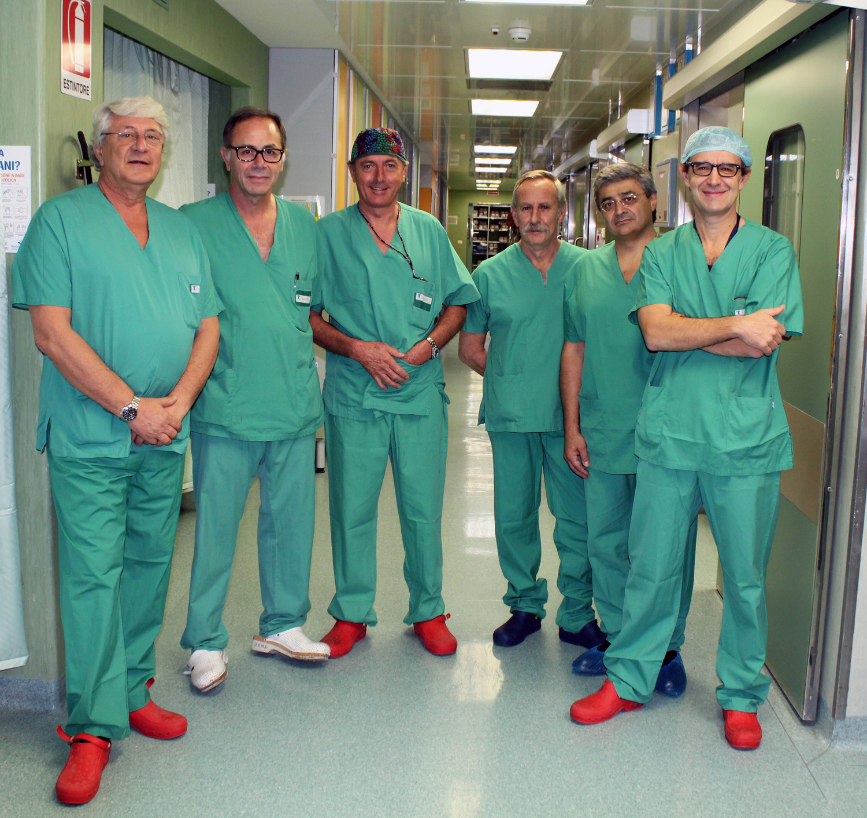 L'équipe de séparation de jumelles siamoises, les prof. INSERRA, ZAMA, BAGOLAN, PICARDO, CAROTTI, SPADA @ Bambino Gesù