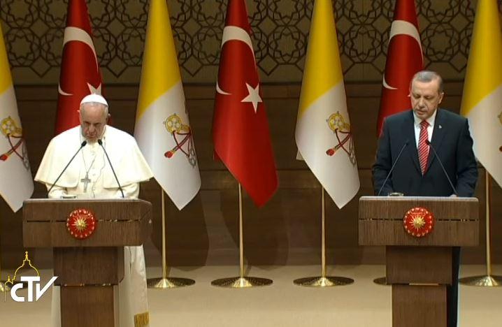 Le pape et le président Erdogan, Ankara, Turquie, capture CTV