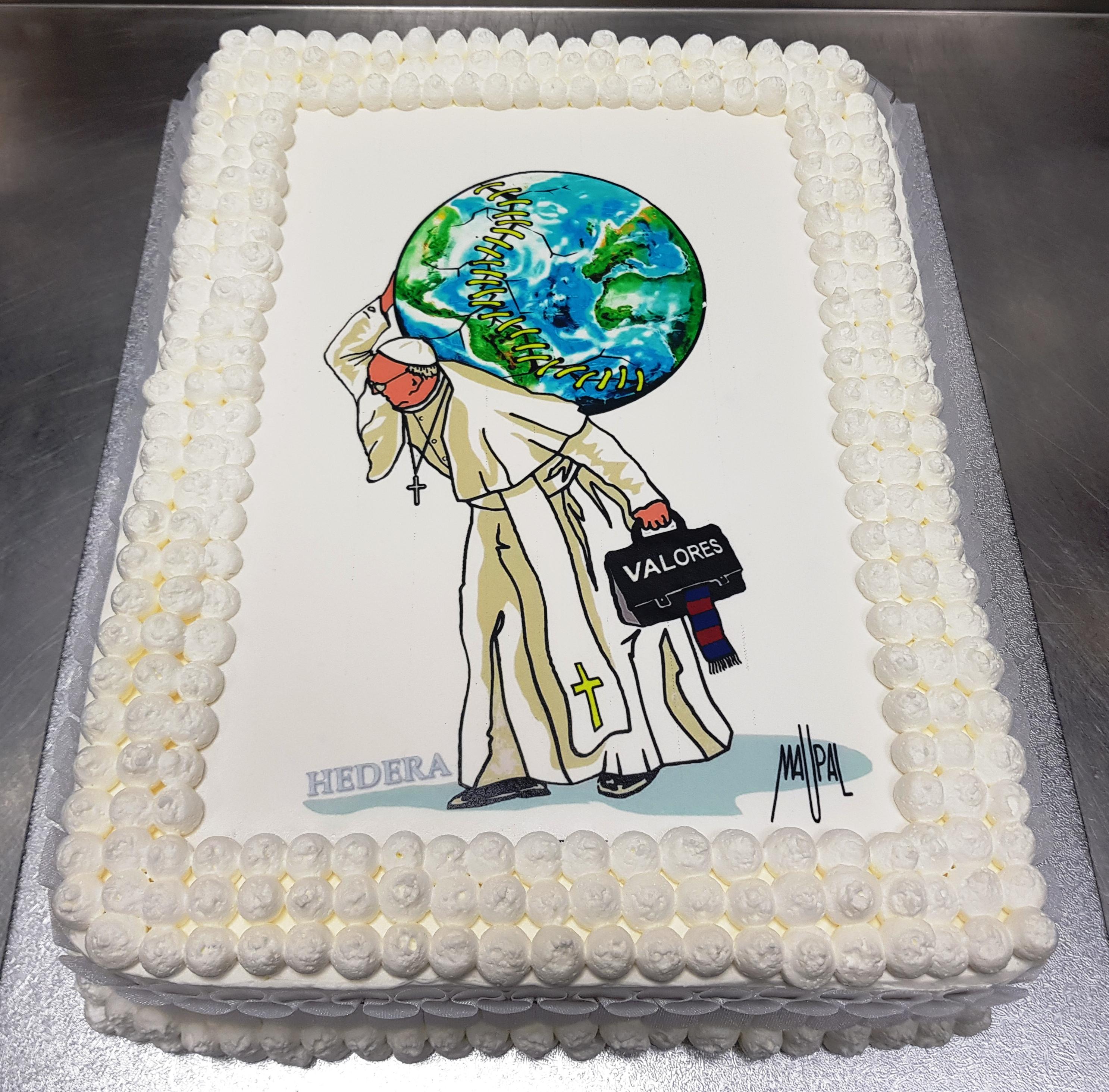 Gâteau d'anniversaire du pape François en 2017 © HEDERA/dessin de Maupal