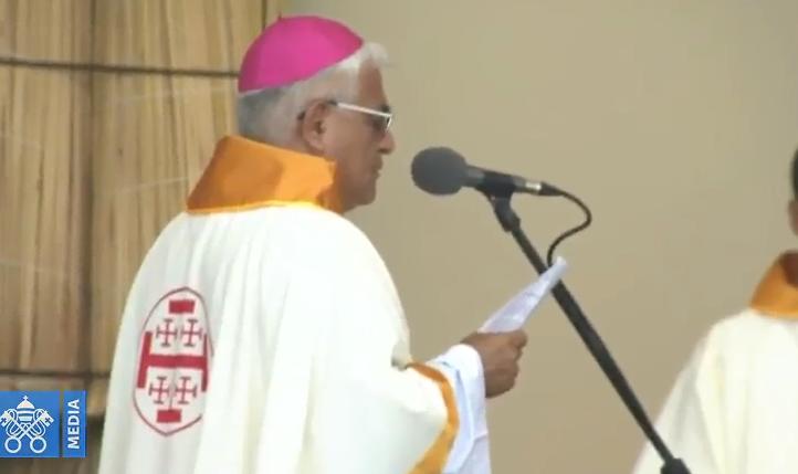 Mgr Héctor Miguel Cabrejos Vidarte, Messe à Trujillo, Pérou, capture Vatican Media