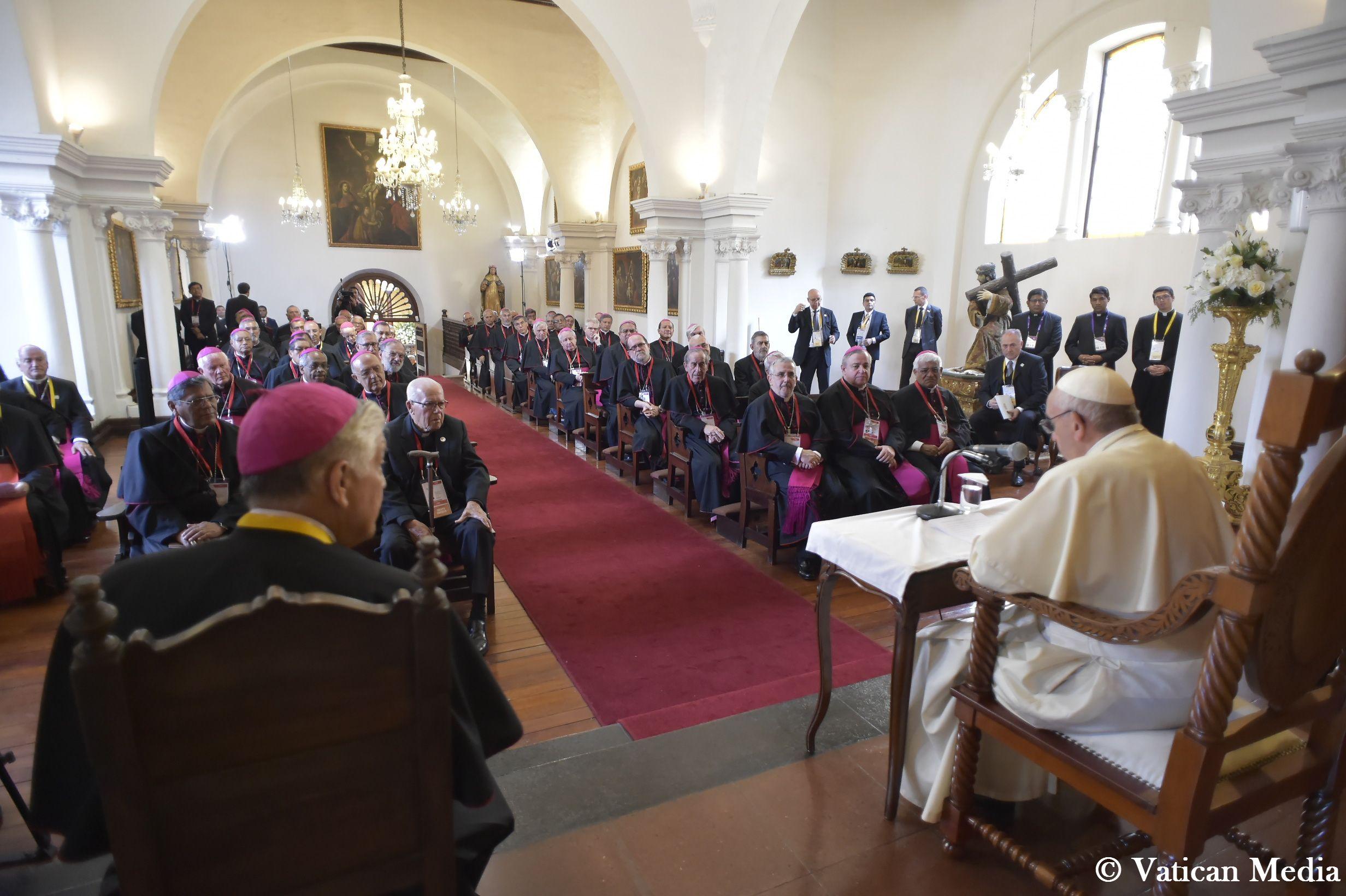 Rencontre avec les évêques du Pérou © Vatican Media