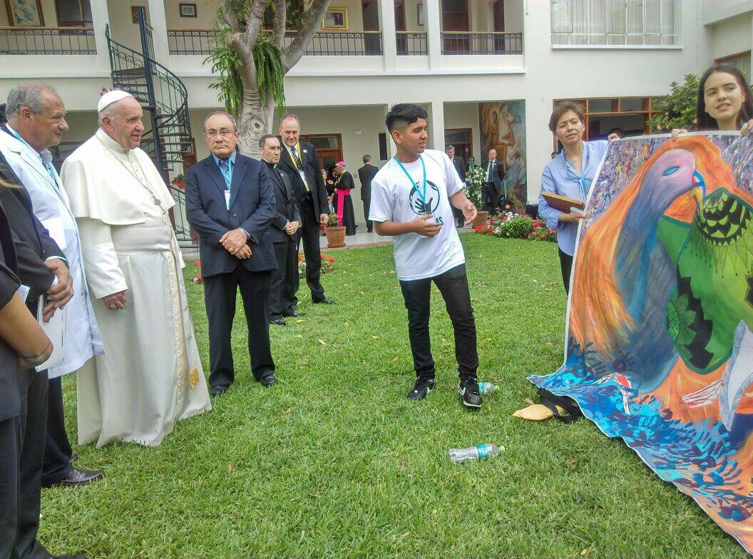 Rencontre avec le pape François à l'archevêché de Trujillo, Pérou @InfoScholas