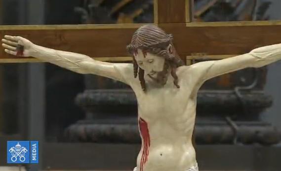 Croix, Célébration pénitentielle à Saint-Pierre, capture Vatican Media