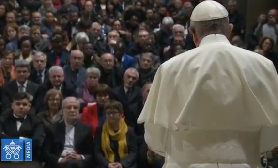 Visite à Santa Maria in Trastevere, Sant'Egidio, capture Vatican Media