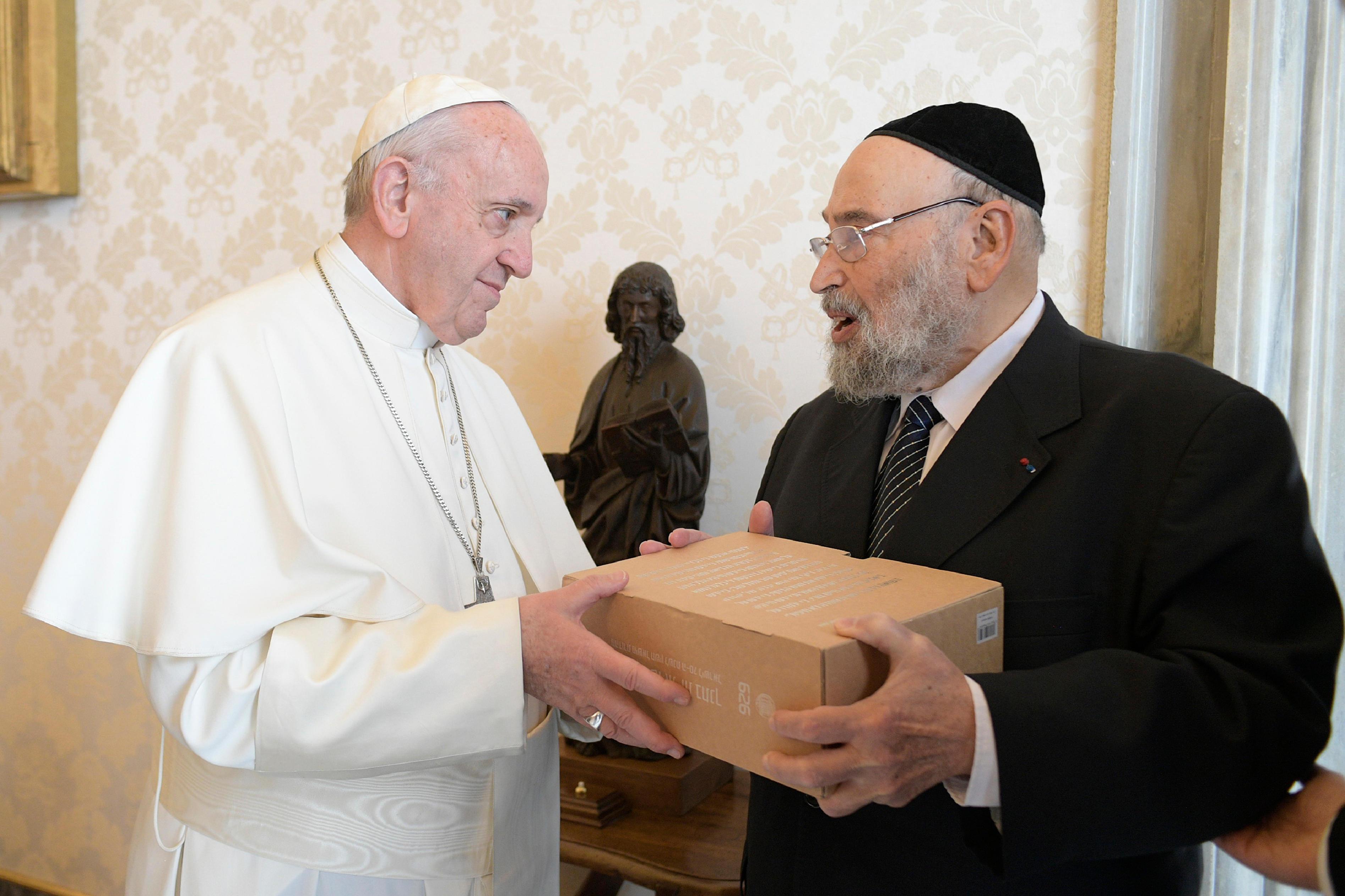 Audience au rabbin René-Samuel Sirat © Vatican Media