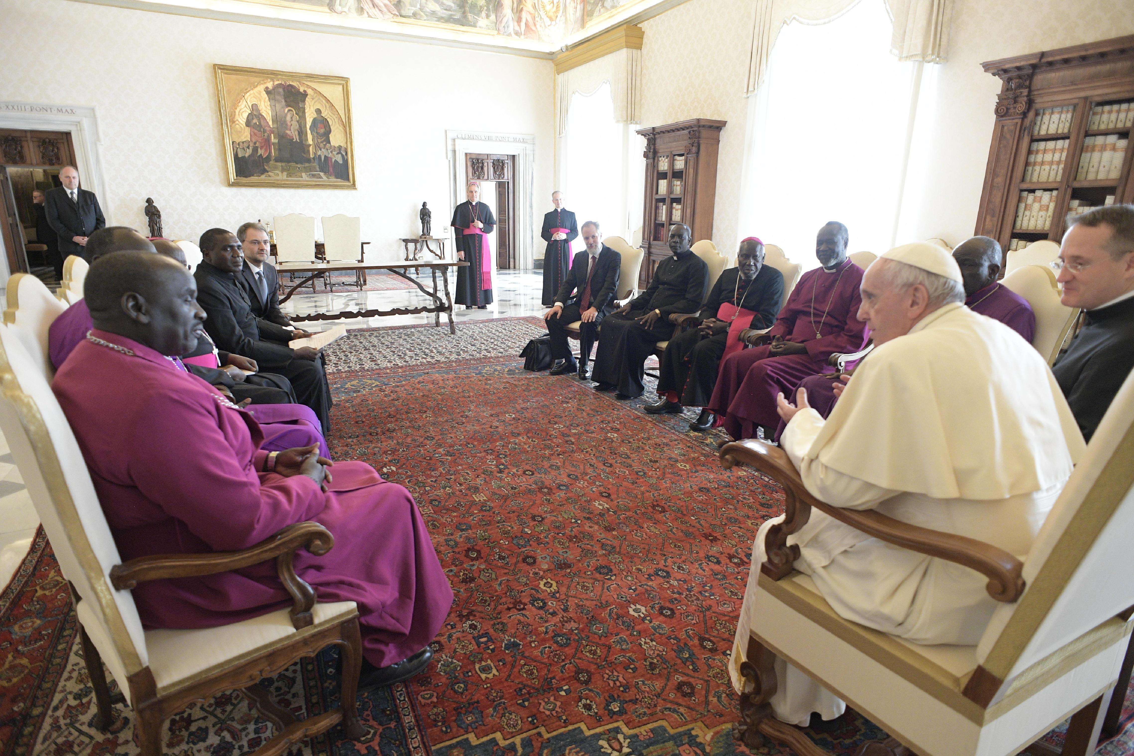 Délégation du Conseil des Eglises du Soudan du Sud © Vatican Media