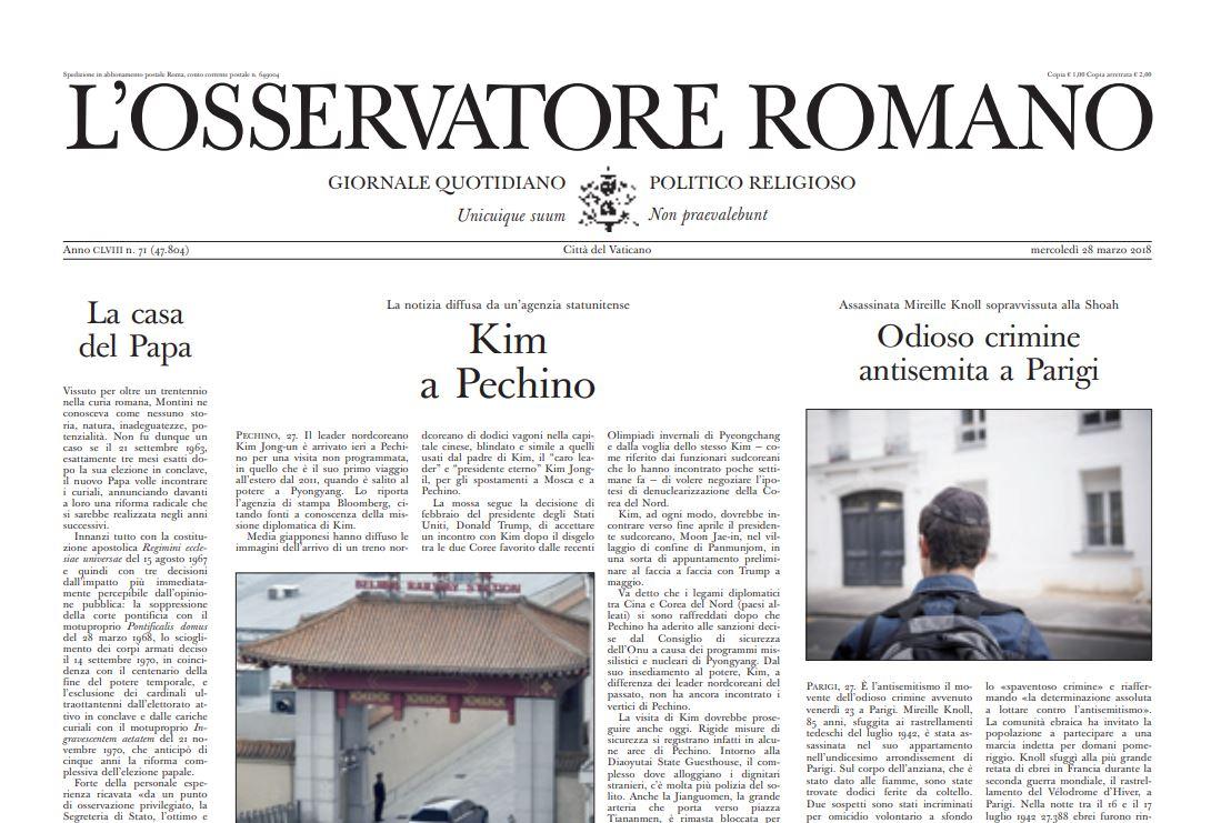 Crime antisémite Une de L'Osservatore Romano