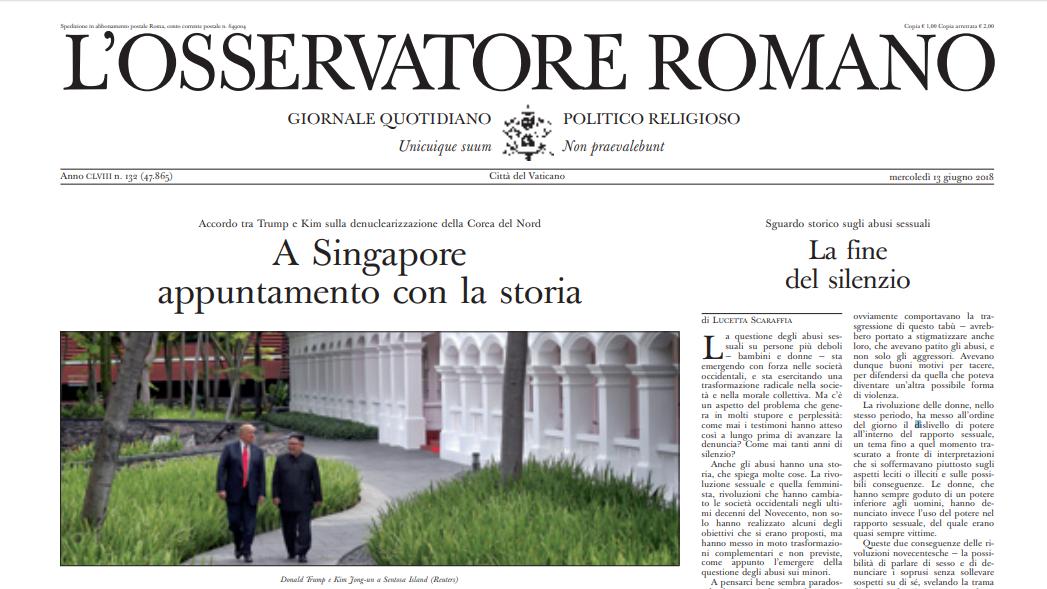 L'Osservatore Romano du 13 juin 2018