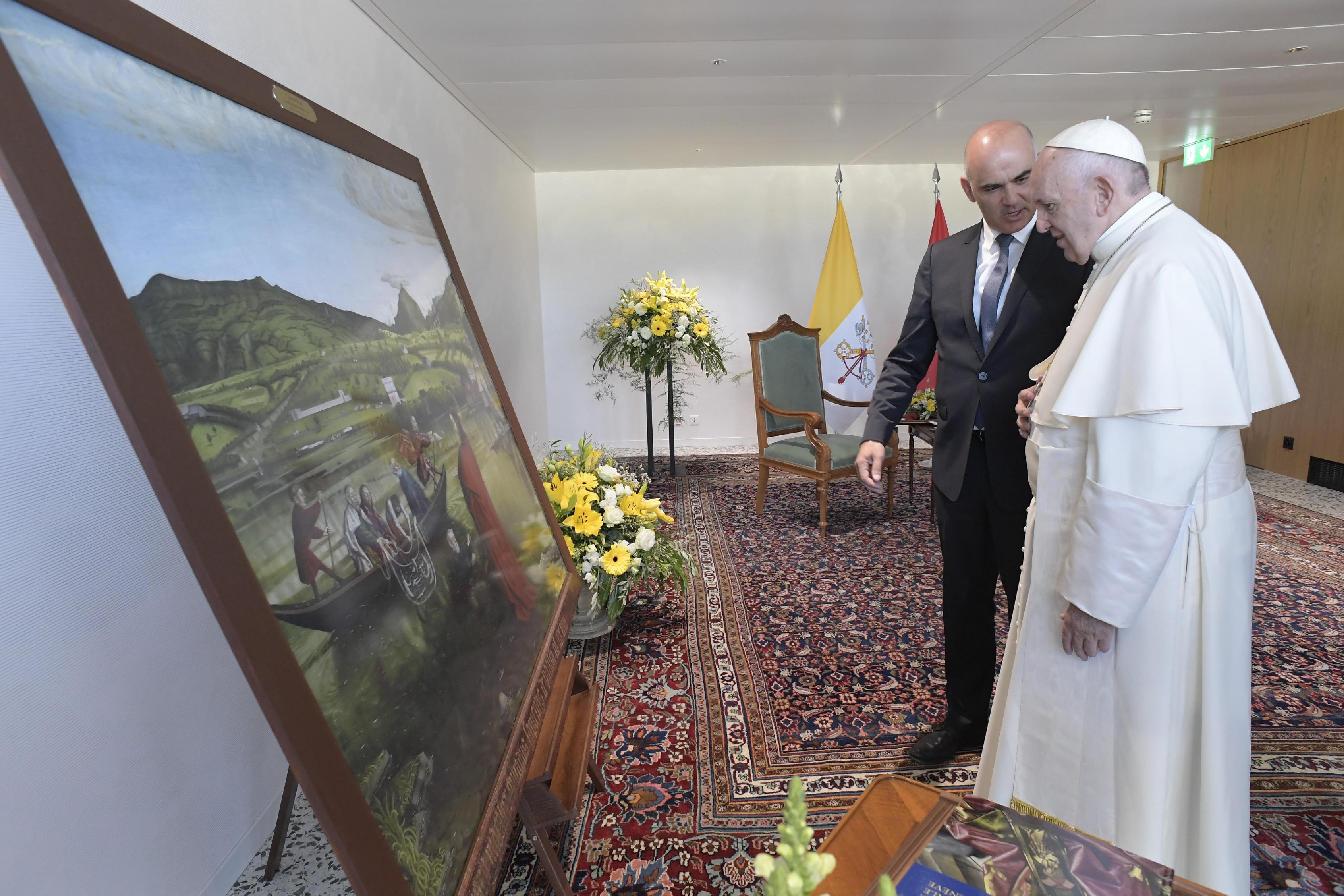 Rencontre avec le président Berset à Genève 21/6/2018 © Vatican Media