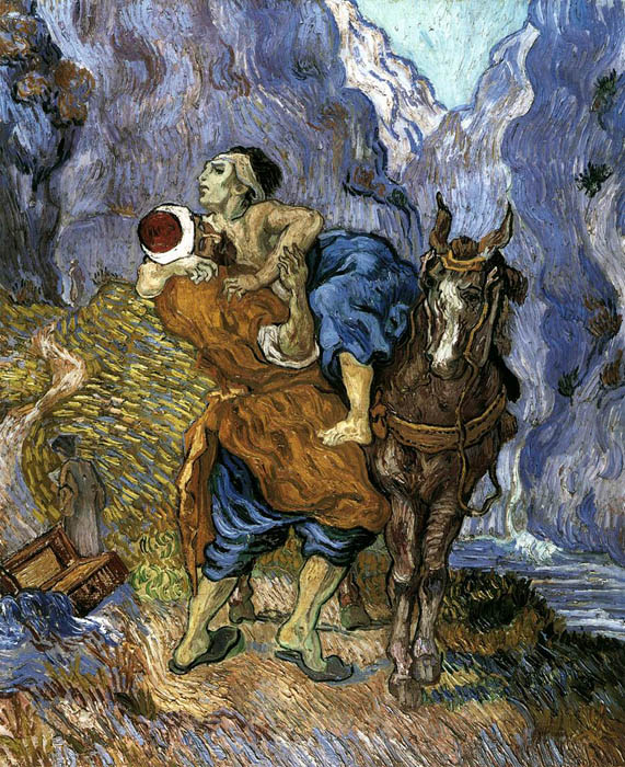 Le Bon Samaritain d'après Delacroix, par Vincent Van Gogh, 1889, @ Rijksmuseum Kröller-Müller, Otterlo (Pays-Bas) CC-BY-SA
