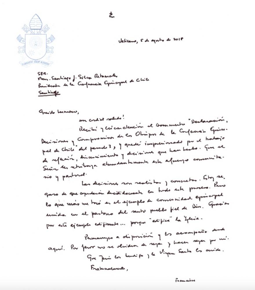 Lettre du pape François aux évêques du Chili, 5 août 2018 @ noticias.iglesia.cl