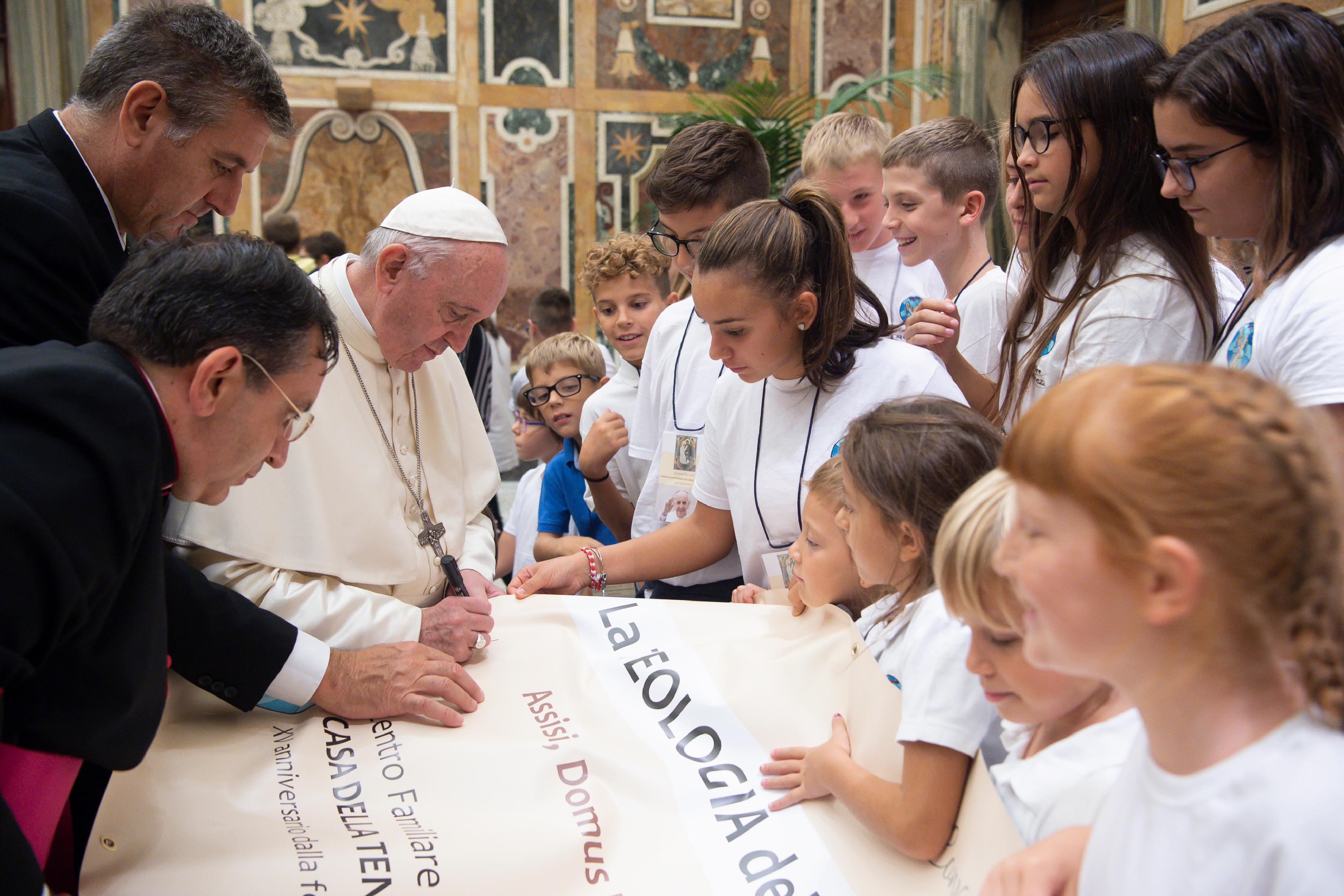 """""""La théologie de la tendresse chez le pape François"""" 13 sept. 2018 © Vatican Media"""