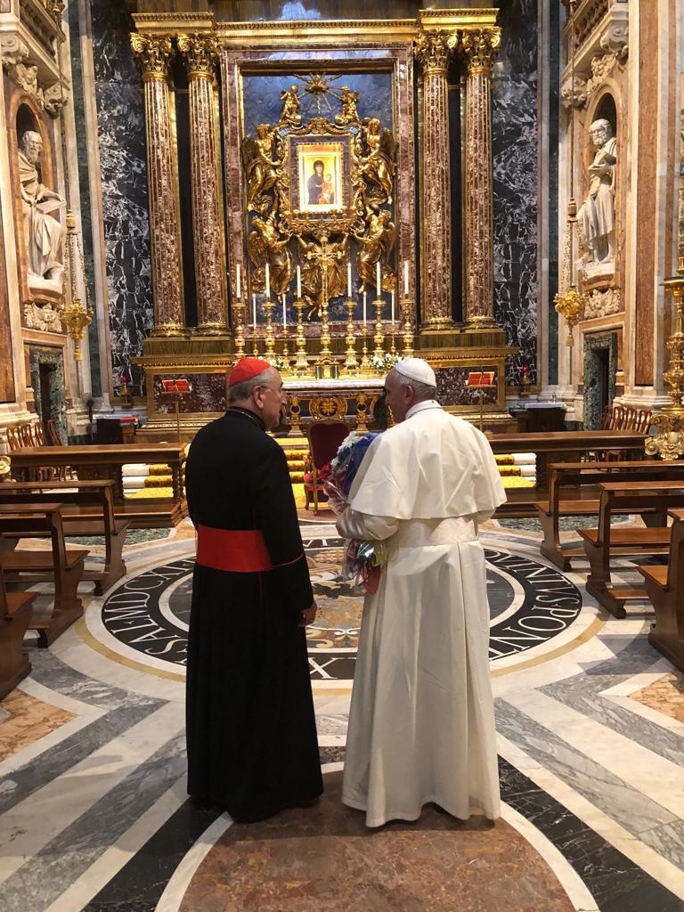 Pape François à Ste Marie Majeure © Twitter Greg Burke