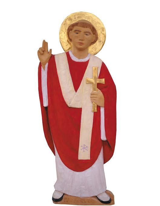 Césaire d'Arles portant le pallium sur sa chasuble rouge, statue du séminaire S. Luc @ diocèse d'Aix en Provence
