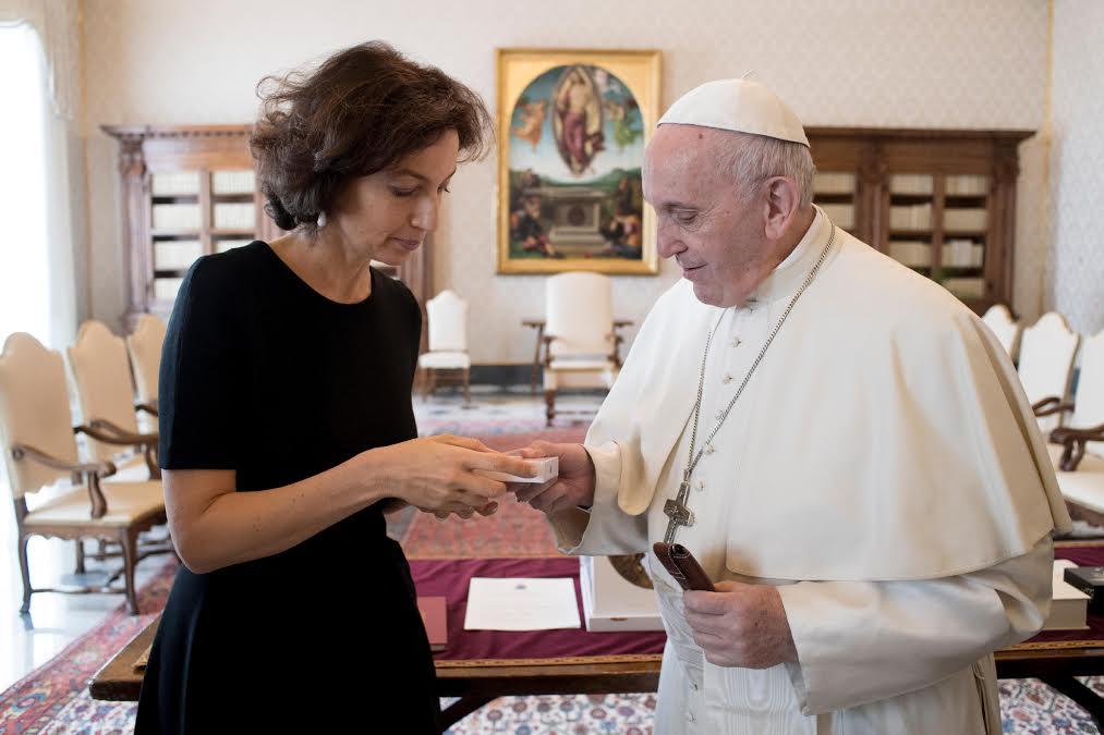 Mme Azoulay, UNESCO, 17 déc. 2018 © Mgr Francesco Follo