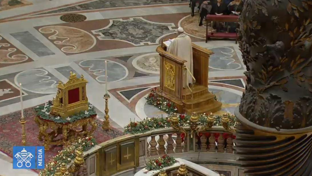 Vêpres du 31 décembre 2018, capture Vatican Media