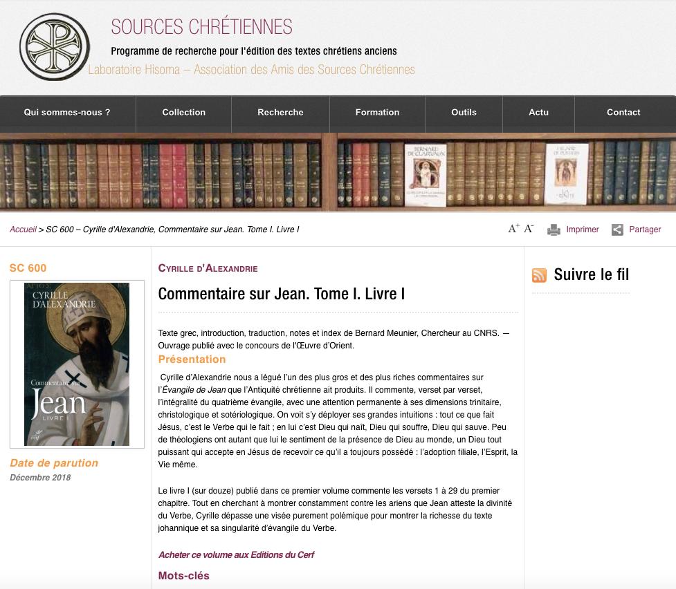 Sources chrétiennes @ editionsducerf.fr