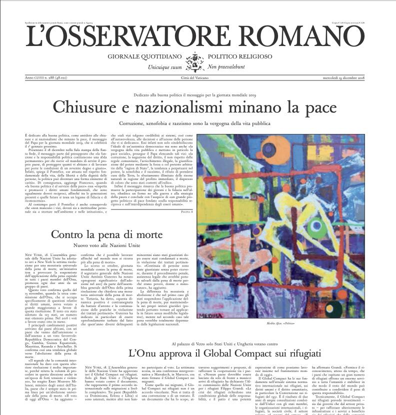 LOsservatore Romano des 18-19 décembre 2018, capture