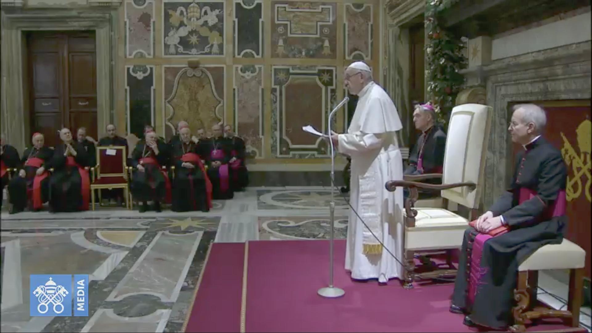 Discours à la curie romaine, 21 déc. 2018 @ Vatican Media