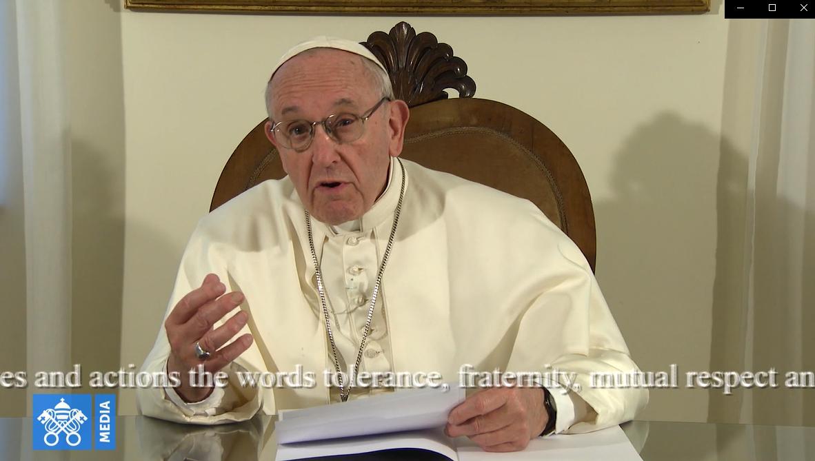 Message vidéo pour le sommet des gouvernements, capture Vatican Media