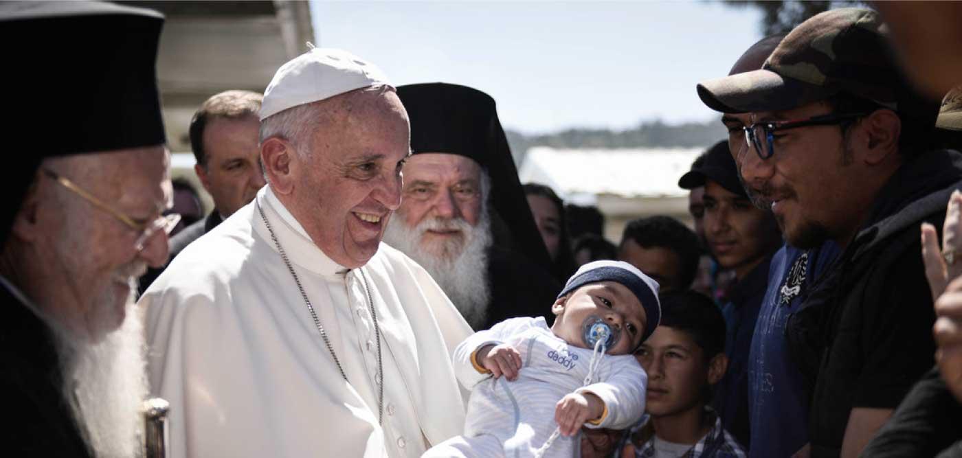Le pape François à Lesbos, 16 avr. 2016 © Galileo Foundation