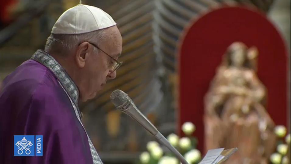Célébration pénitentielle à St Pierre, 29 mars 2019, capture Vatican Media