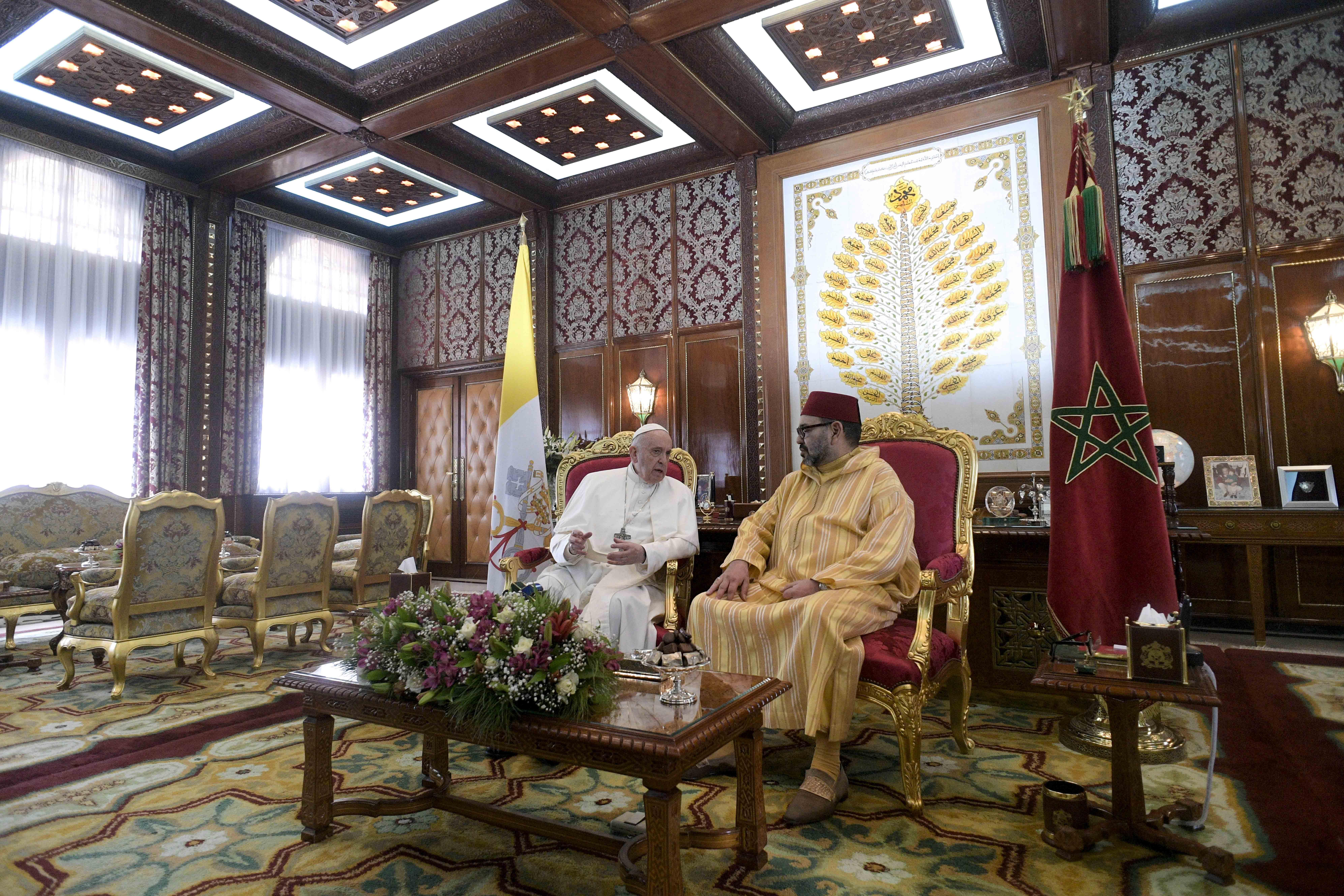 Visite au roi du Maroc Mohammed VI au palais royal © Vatican Media