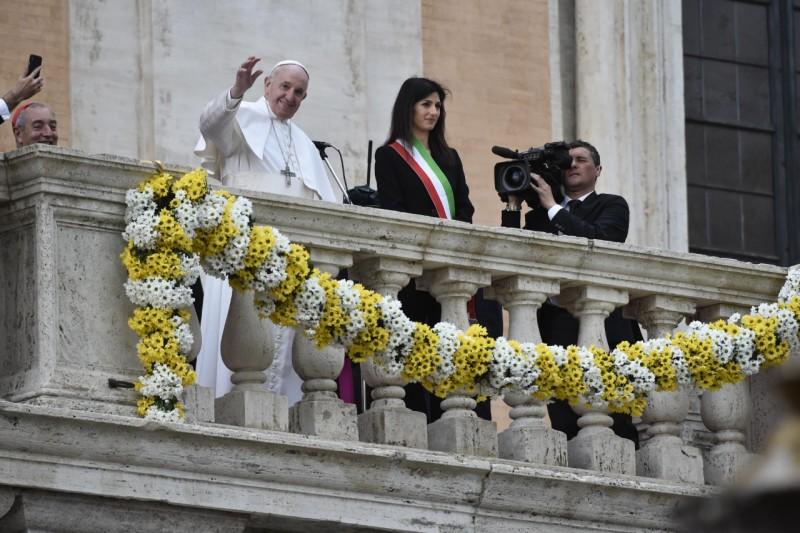 Visite au Capitole 26 mars 2019, avec Mme Virginia Raggi © Vatican Media