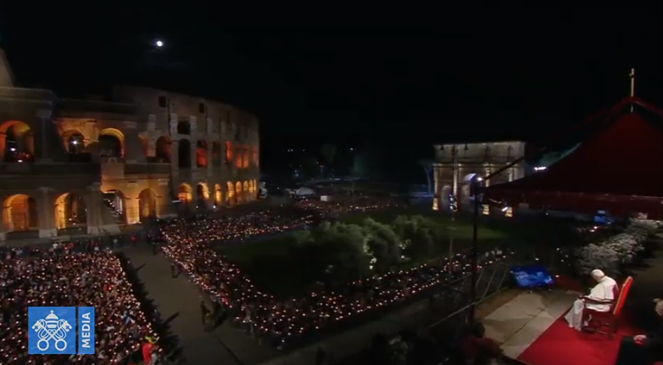 Chemin de croix du Colisée, 19 avril 2019, capture Vatican Media