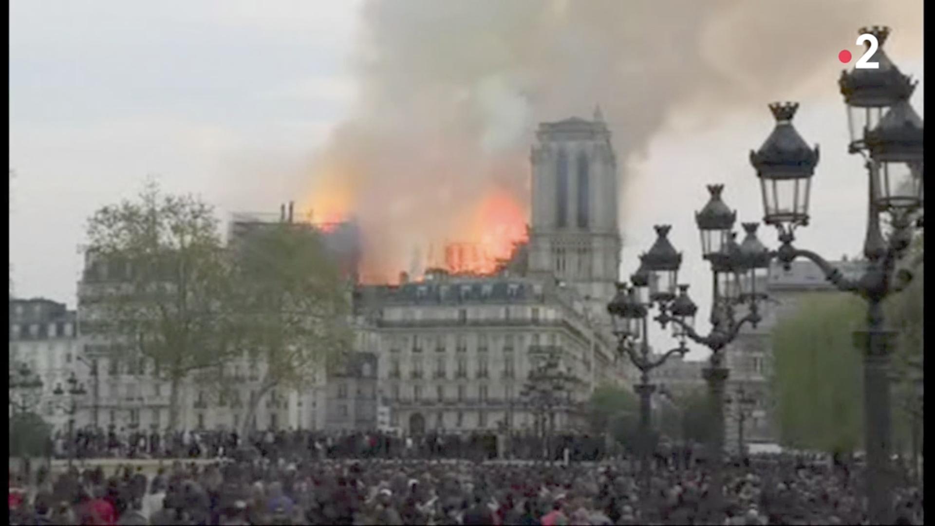 Incendie de Notre-Dame de Paris, capture @France2