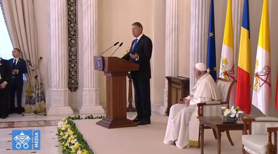 Président Klaus Iohannis, Roumanie, capture Vatican Media