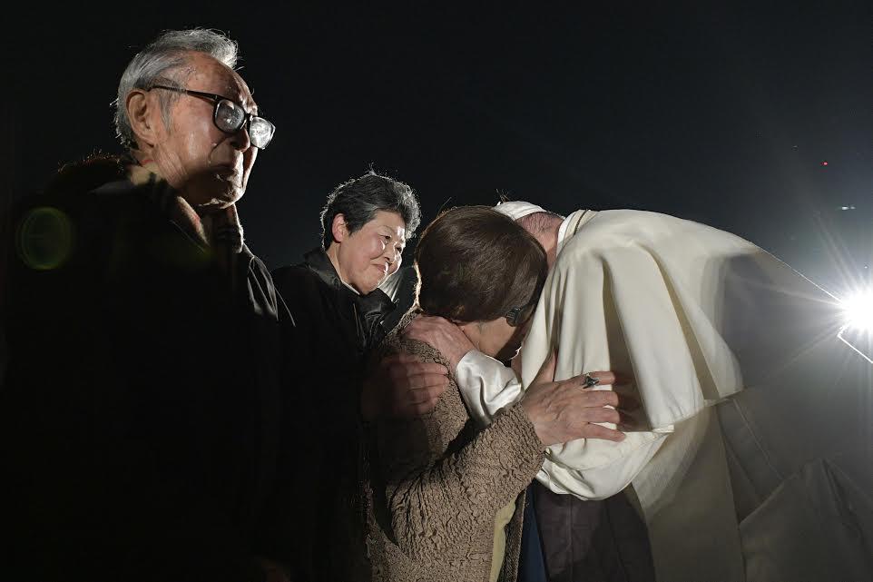 Rencontre avec des Hibakusha, Mémorial de la paix, Hiroshima, Japon, 24 novembre 2019 © Vatican Media