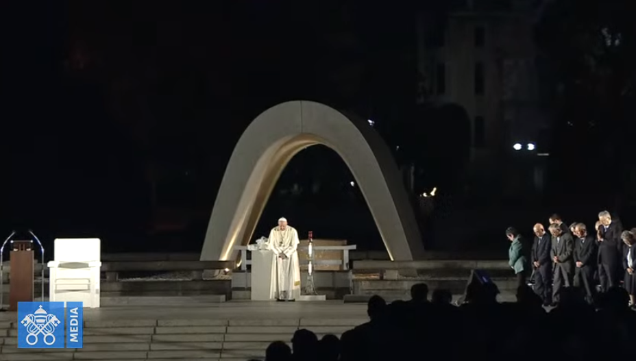 Mémorial de la paix, Hiroshima, Japon, 24 novembre 2019, capture Vatican Media