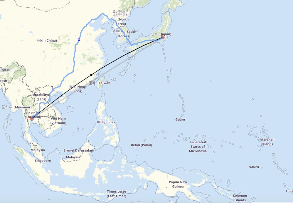 Le trajet Bangkok-Tokyo, capture @ fr.distance.to